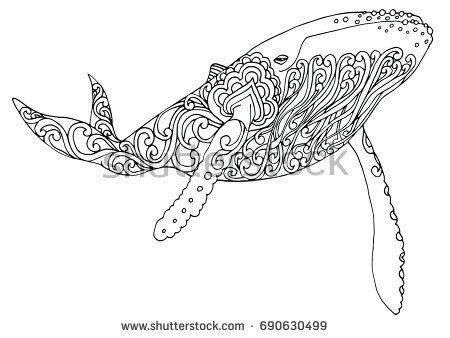 Zentangle Doodle Patterned Fantasy Blue Whale Isolated Design
