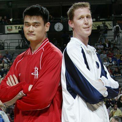 Left Yao Ming 7 Feet 5 Inches 2261 Cm Right Shawn Bradley 7