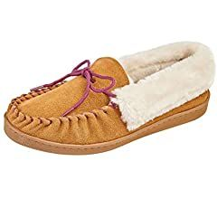 Photo of Ladies Orkney Jo & Joe Real Suede Faux Sheepskin Fur Lined Moccasin Slippers Size 4-8