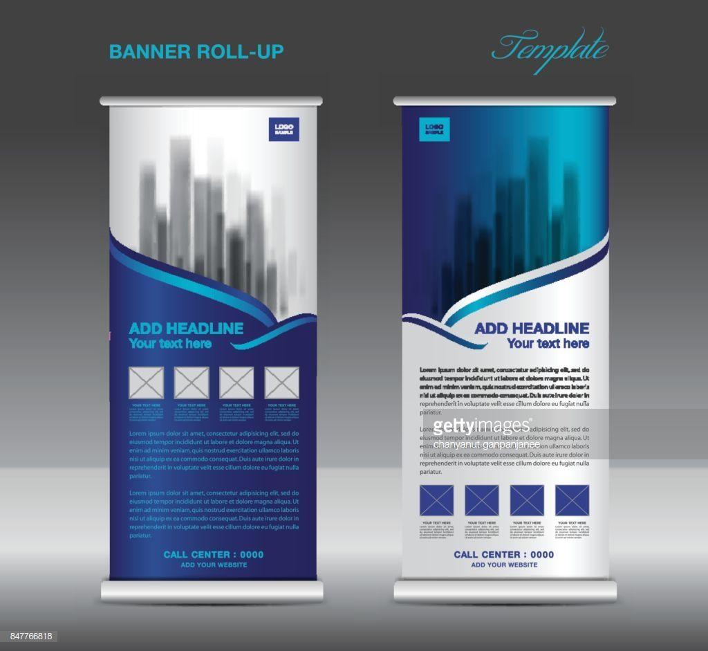 Blue Roll Up Banner Template Vector Flyer Advertisement X