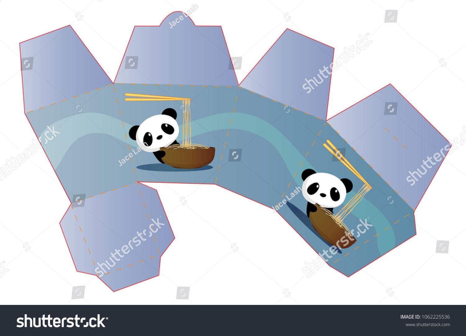vector template takeout chinese food container box concept panda
