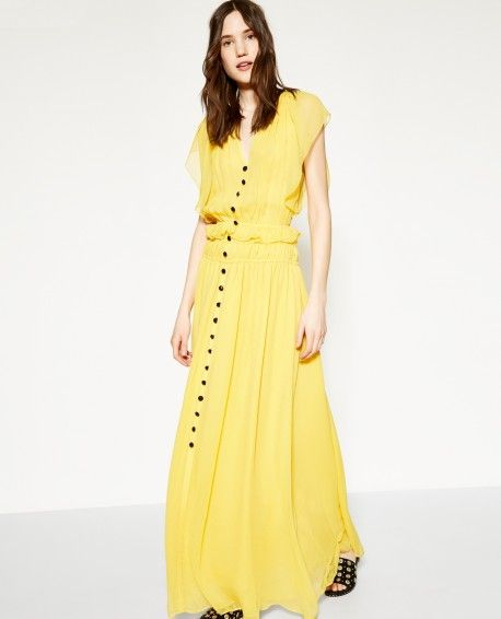 1741fc87790 Robe longue soie jaune boutonnée - THE KOOPLES FEMME