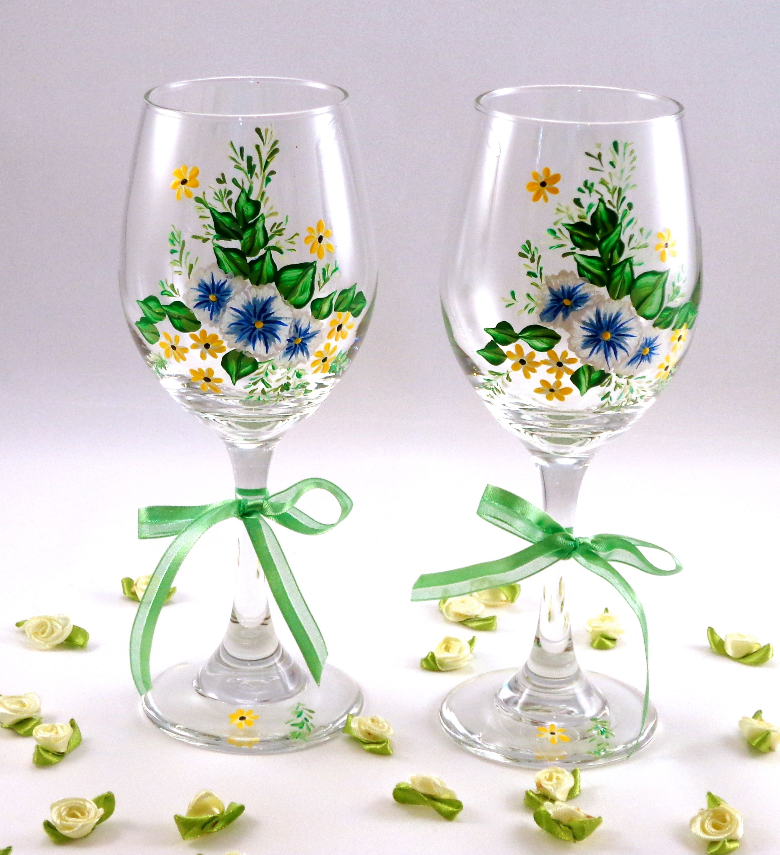 hand painted wine glasses flowers painted wine glasses