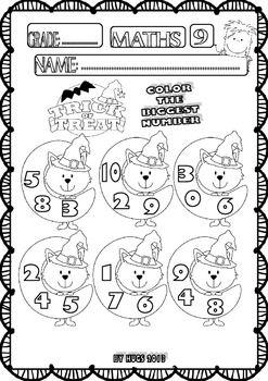 Halloween Maths Funny Worksheets for P-K, K and 1st Grade - Set 1 ...