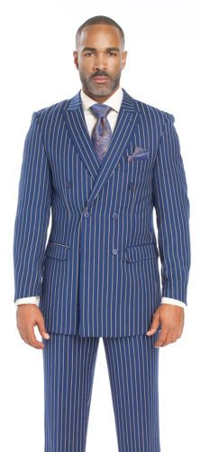 Fashion-2-Piece-Blue-Double-Breasted-Pinstripe-Gangster-Mens-Stripe-Suit-M2701