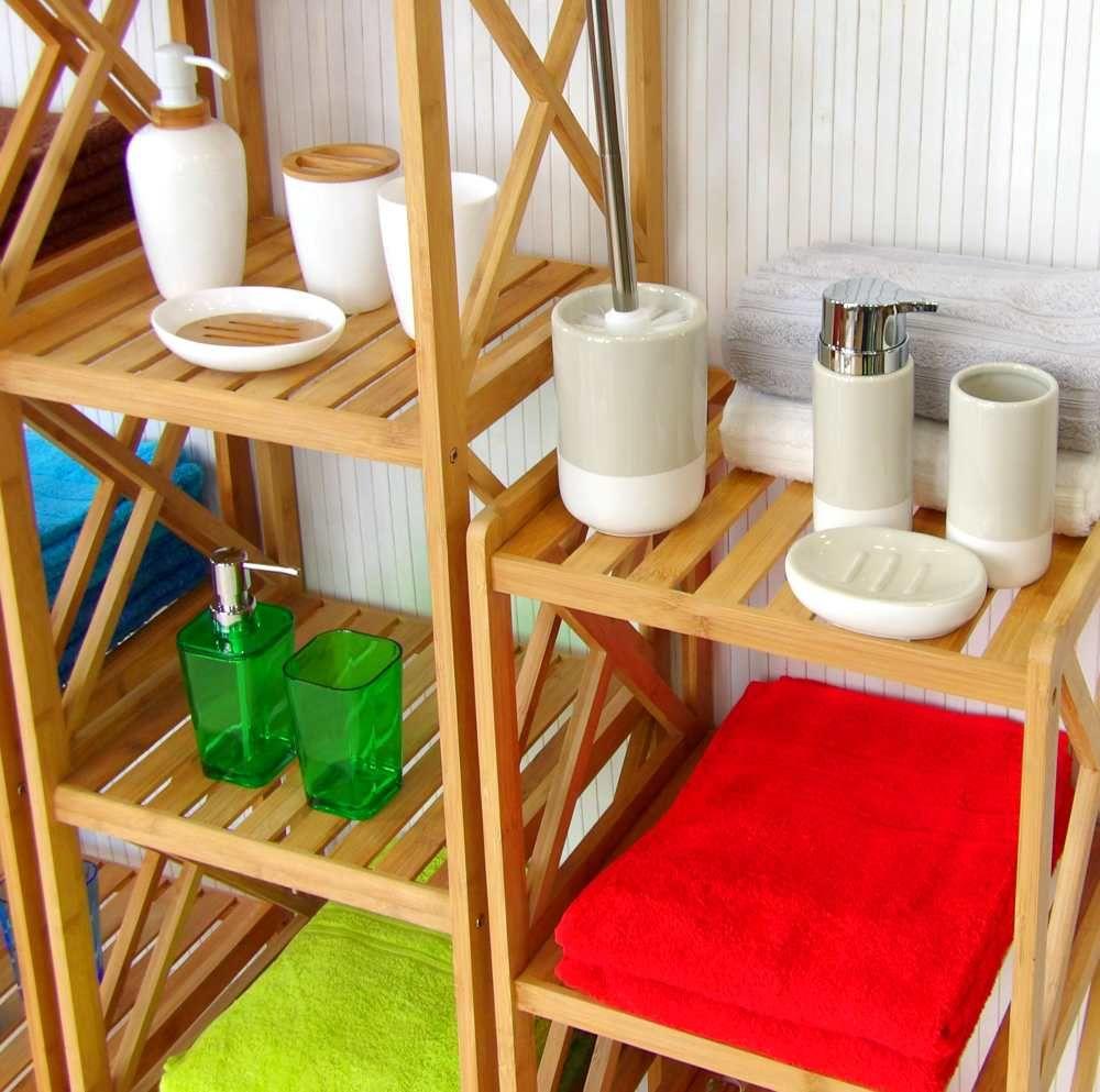 Estanterías de bambú y accesorios de baño | Estantería de ...