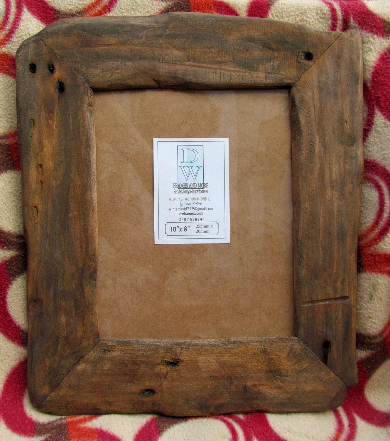 Rusticdriftwood Style Frame In Locally Sourced,Recycled Hardwood In Dark Oak