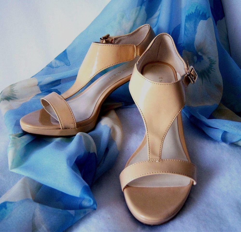 Women's sz 6.5 Beige High Heels Sandal Patent Leather Look Etienne Aigner SEXY #EtienneAigner #HighHeelsSandalStyle #Allocassion