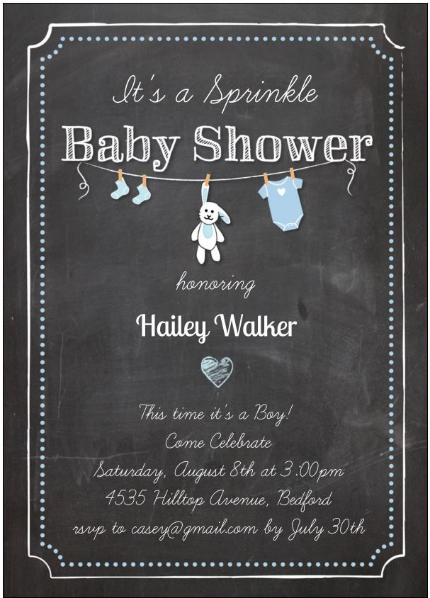 sprinkle baby shower invitation (this time it's a boy!) with chalk, Baby shower invitations