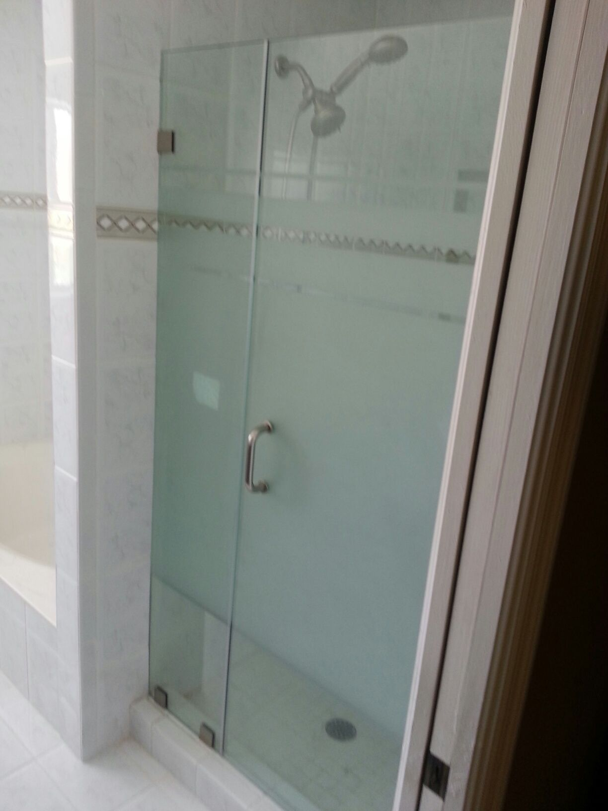 Frameless Shower Door With Custom Sandblasted Design By Glass Doctor