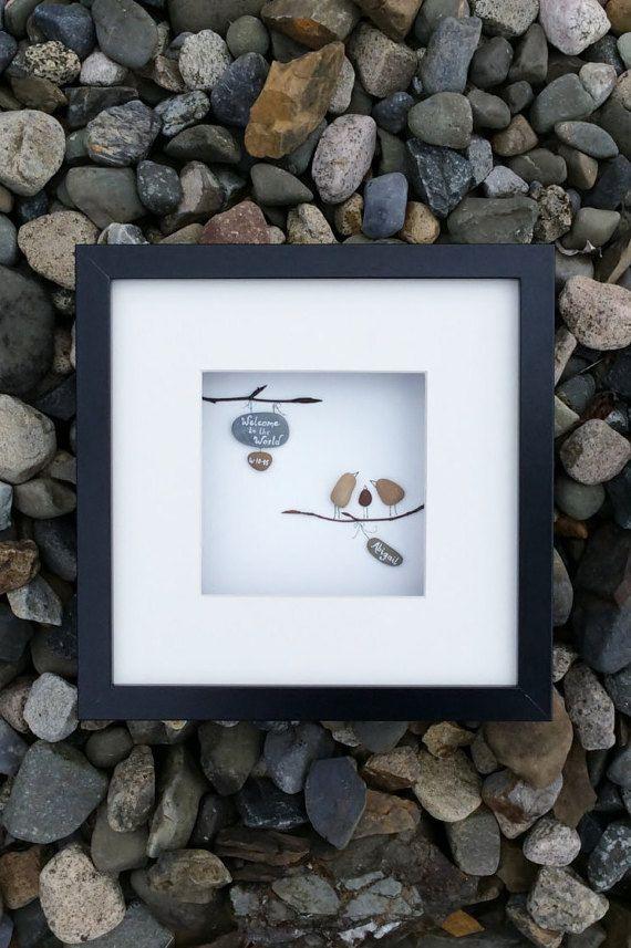 Irish pebble art, unique handmade new born or adoption gift ...