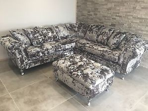 Silver Panther Crush Velvet Corner Sofa Bespoke Chesterfield All Colours Crushed Velvet Sofa Velvet Corner Sofa Sofa Inspiration