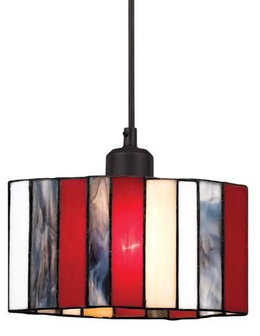 This hard-wired Tiffany glass pendant is equipped with a 40W socket and a 6-foot black cord. The stunning piece measures 8 5⁄8 inches wide and 4¾ inches high. A wide variety of line voltage canopies are available. A436. www.calighting.com