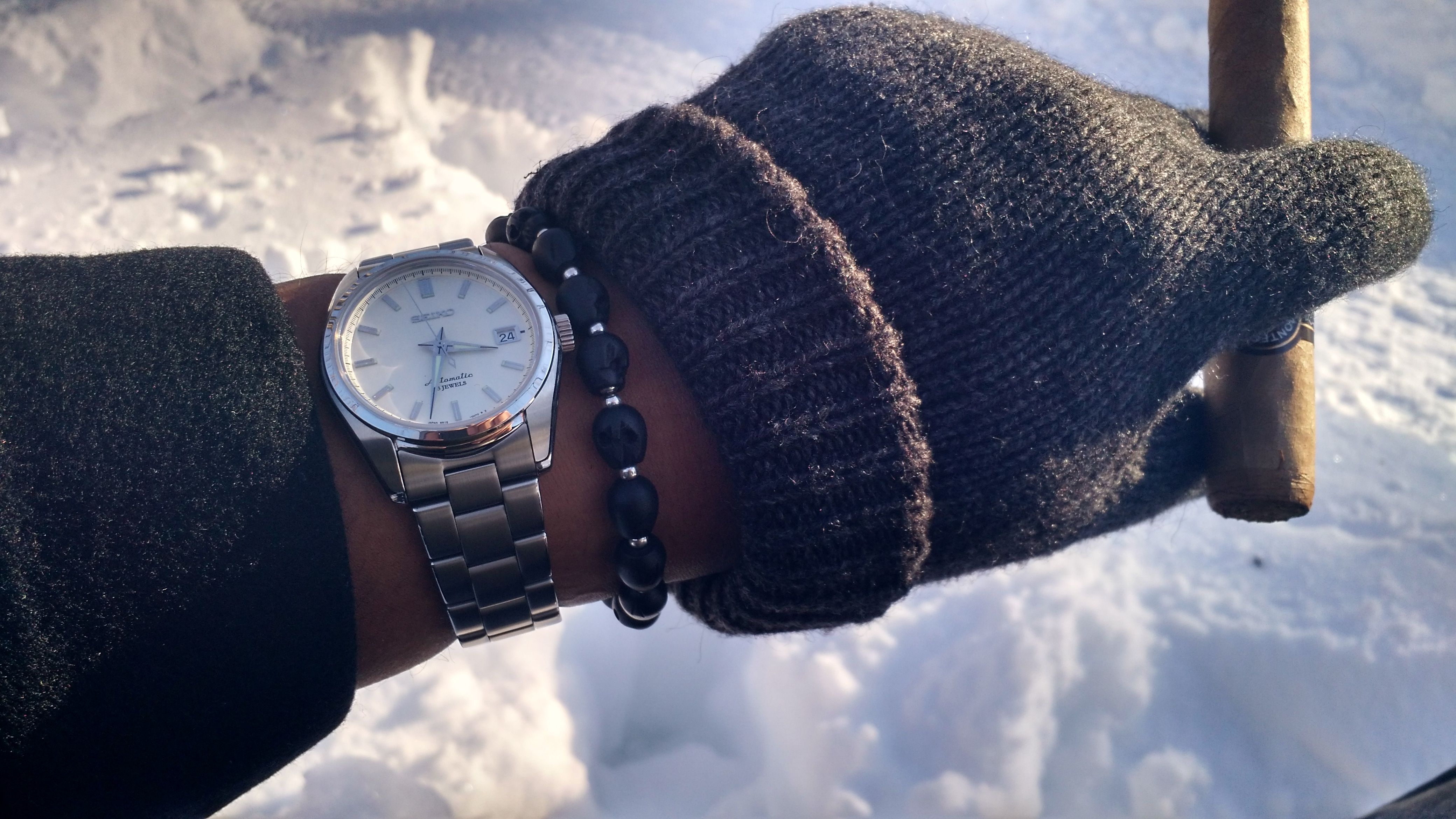 """My SARB035 """"Baby Grand"""" on a sunny day in Lafayette Square the day after Snowmageddon 2016. I've heard people compare it to a Grand Seiko, a Calatrava, a Datejust, and an Aqua Terra but I don't think it needs any comparisons. It makes me happy to put it on all by itself."""