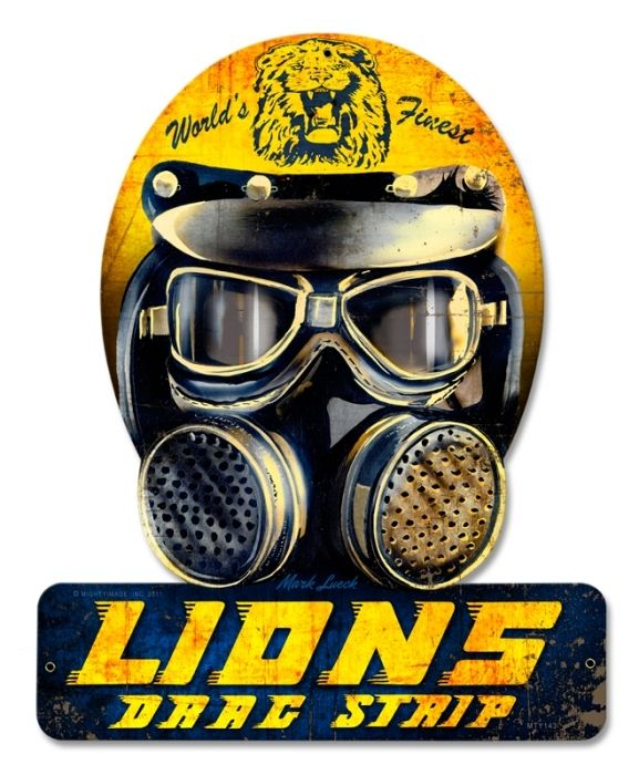 Vintage Lions Drag Helmet Metal Sign 12 X 15 Inches