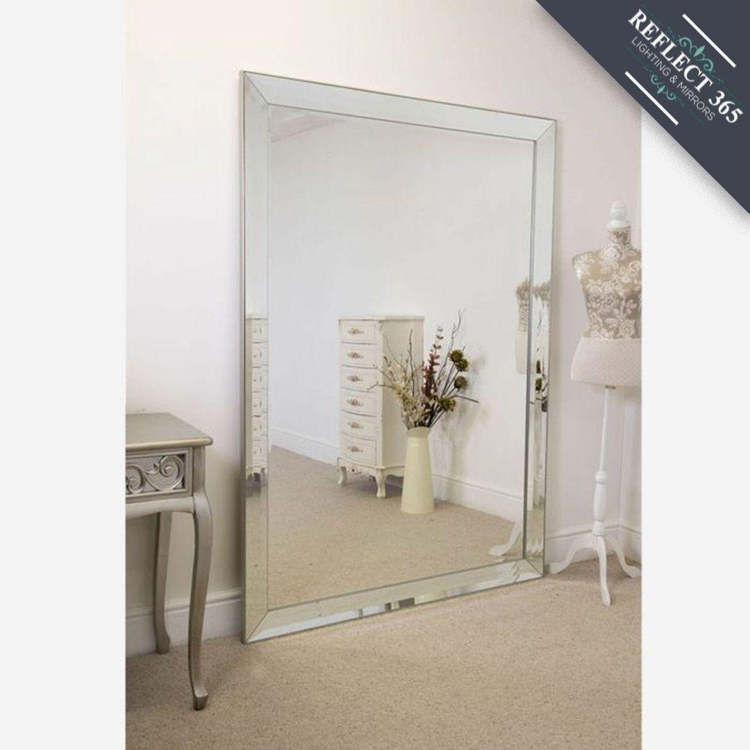 Venetian Style Floor Standing Mirror Bevelled Large Frameless