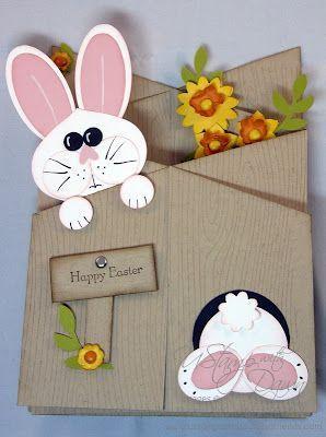 Handmade Cascade Card Easter Punch Art Bunnies Coming And