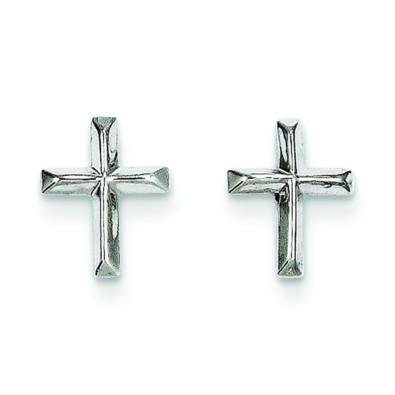 14k White Gold Cross Stud Earrings Ear Jewelry For More Information Valentines Gift