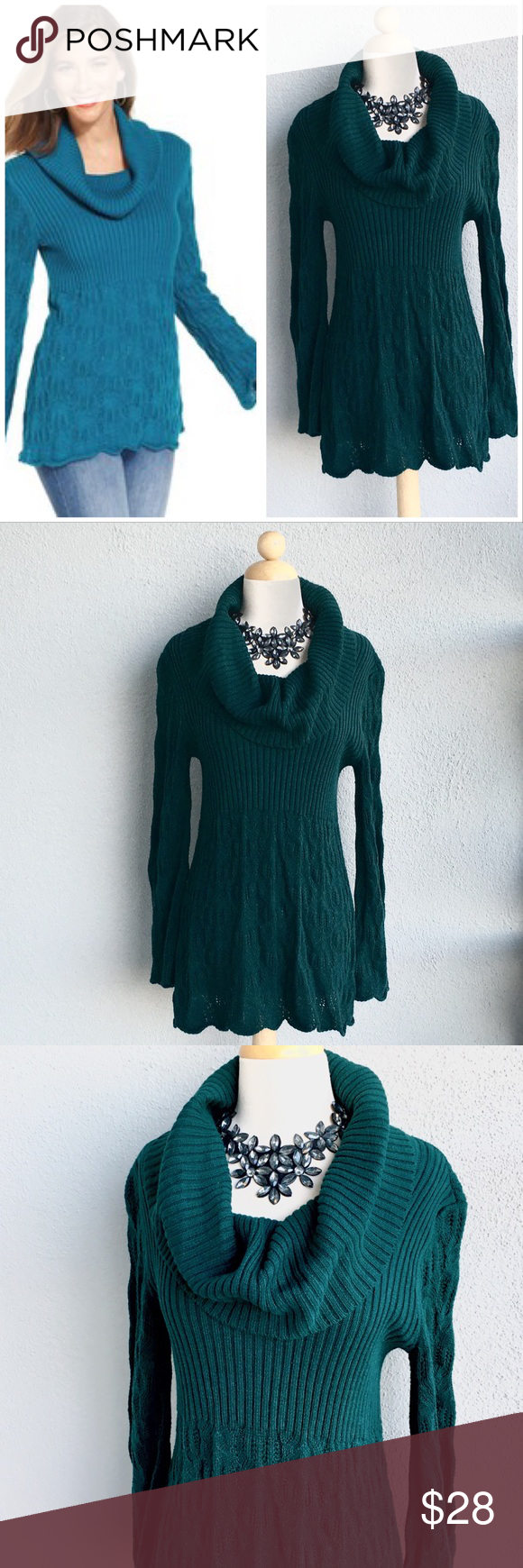 STYLE & CO Knit Dark Green Tunic Size L  | Green tunic, Tunics ...