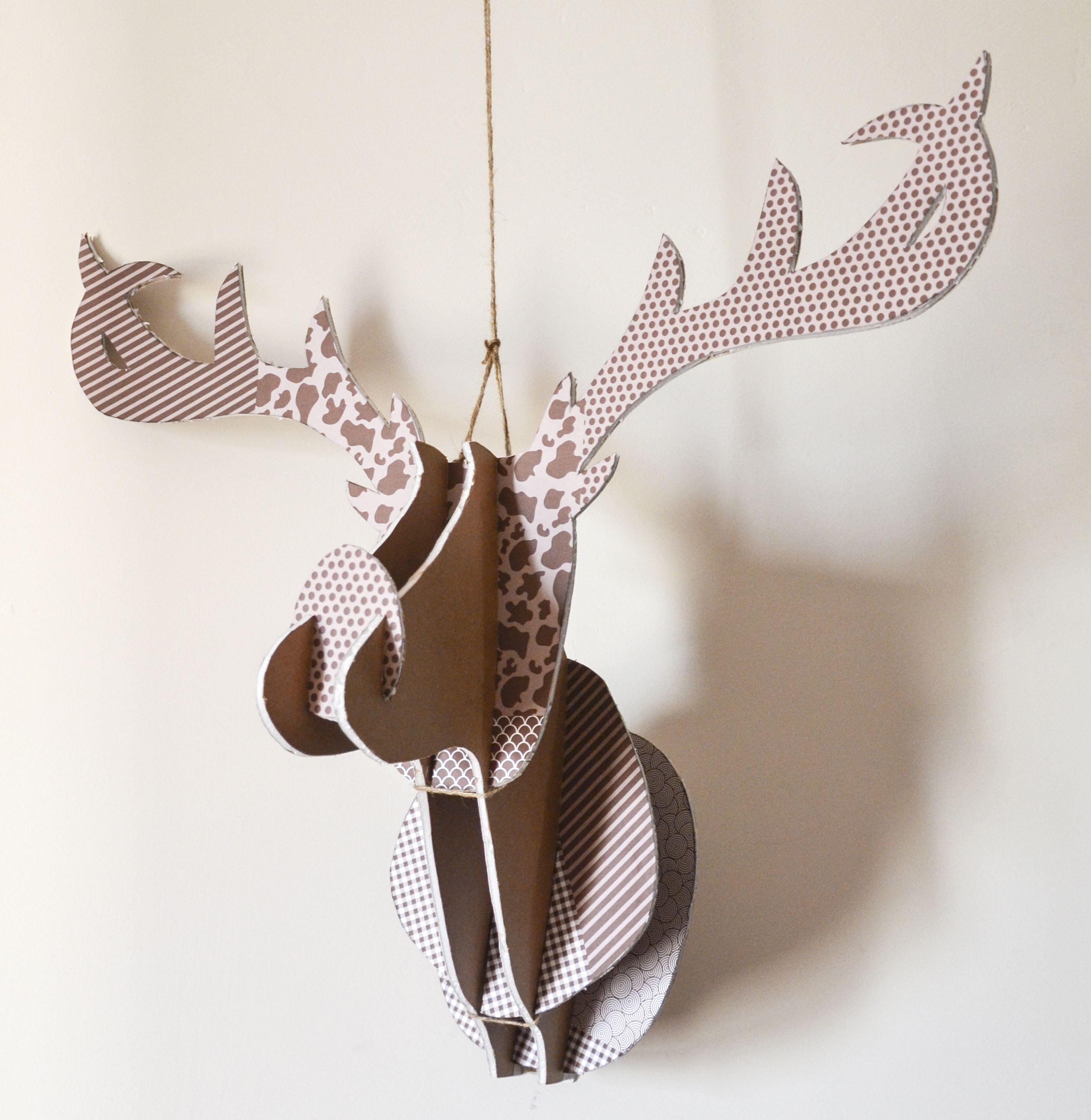 Cabeza de ciervo de cartón pluma #DIY #Handmade #deer #paper ...