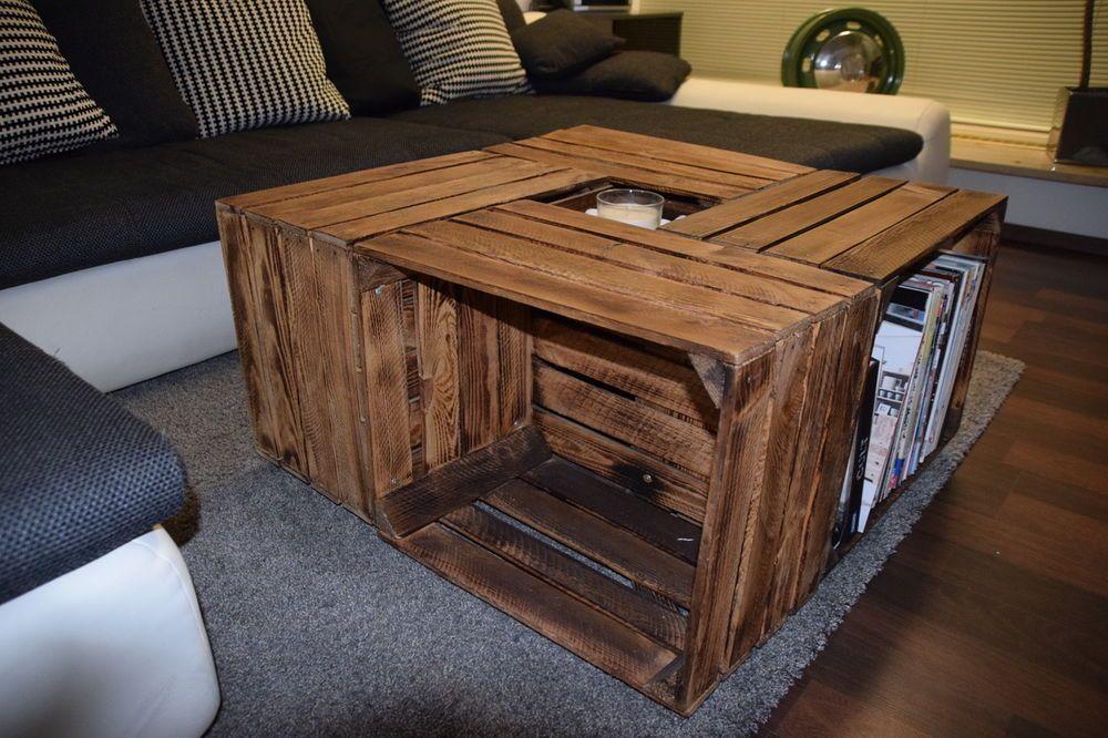 Zu Verkaufen Obstkisten Tisch Sofatisch Holz Angeflammt