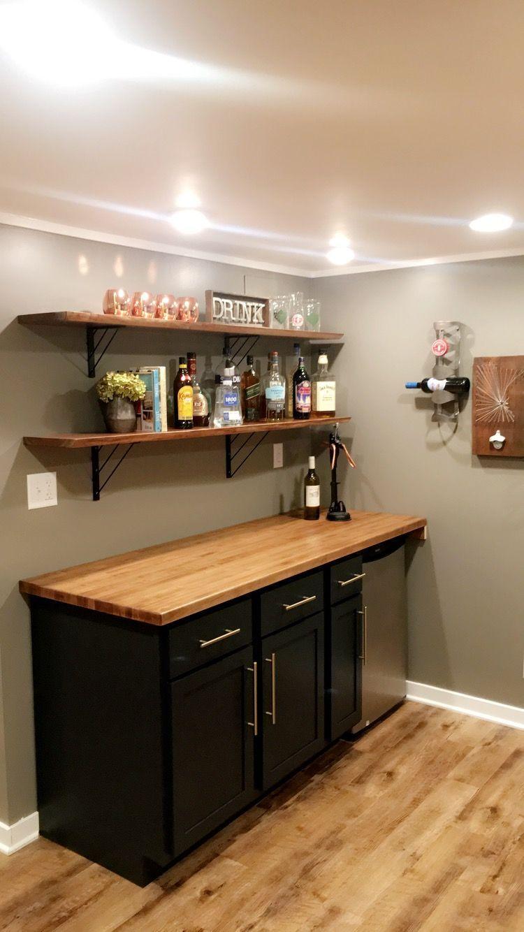 Basement Bar Homemade Counter And Exposed Shelves Diy Home Bar