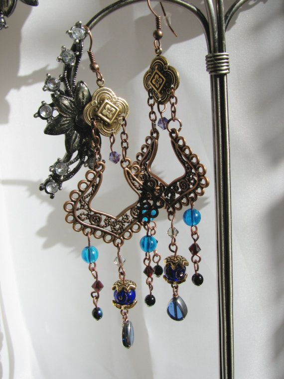 Bohemian Chandelier Dangle Earring Brass Flowers by SomewearInTyme, $35.00
