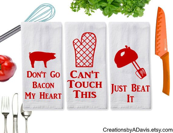 In blue not red! Just Beat It / 3pc Funny Towel Set / Bacon by CreationsbyADavis