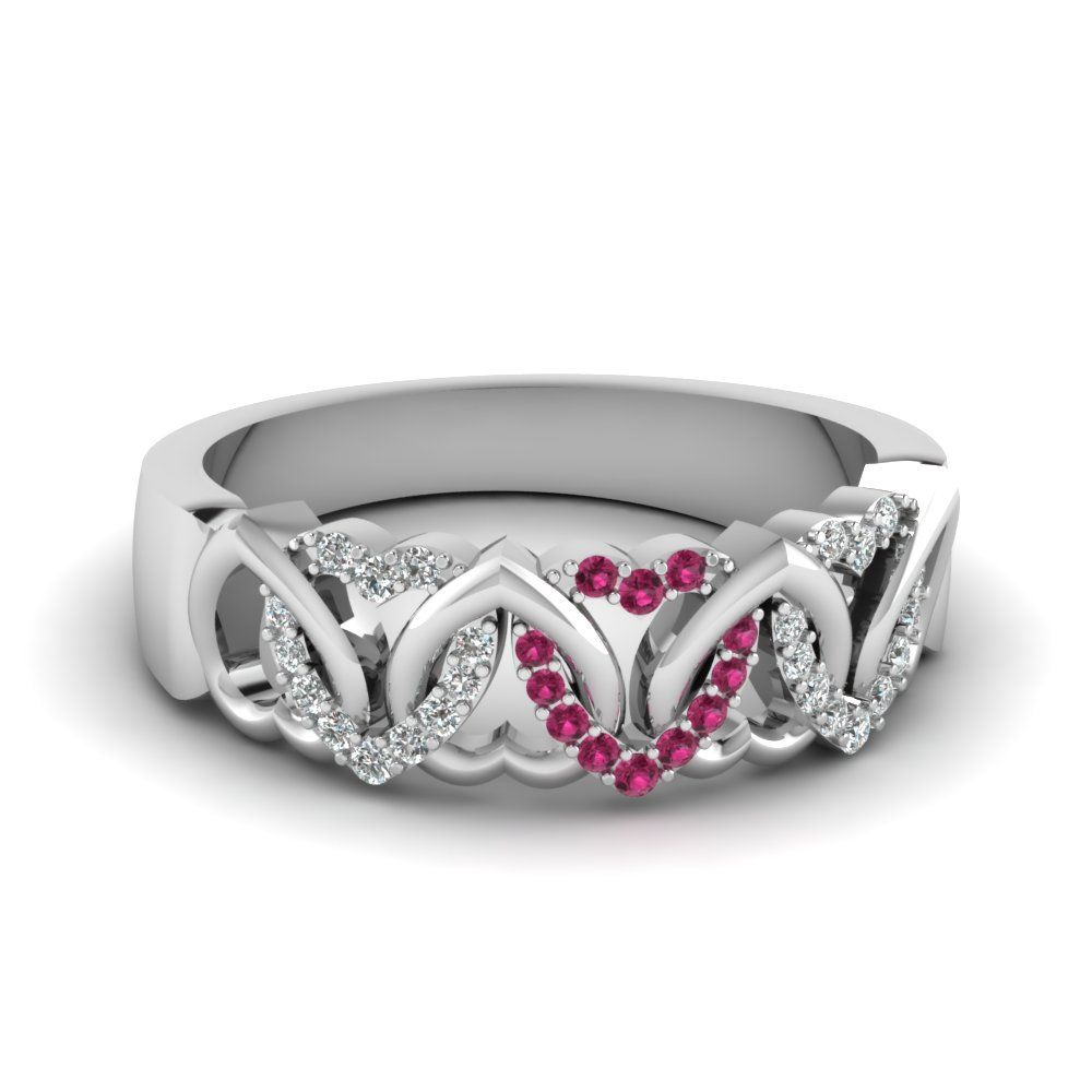 It is just a picture of Interweaved Heart Design Diamond Wedding Band With Pink Sapphire