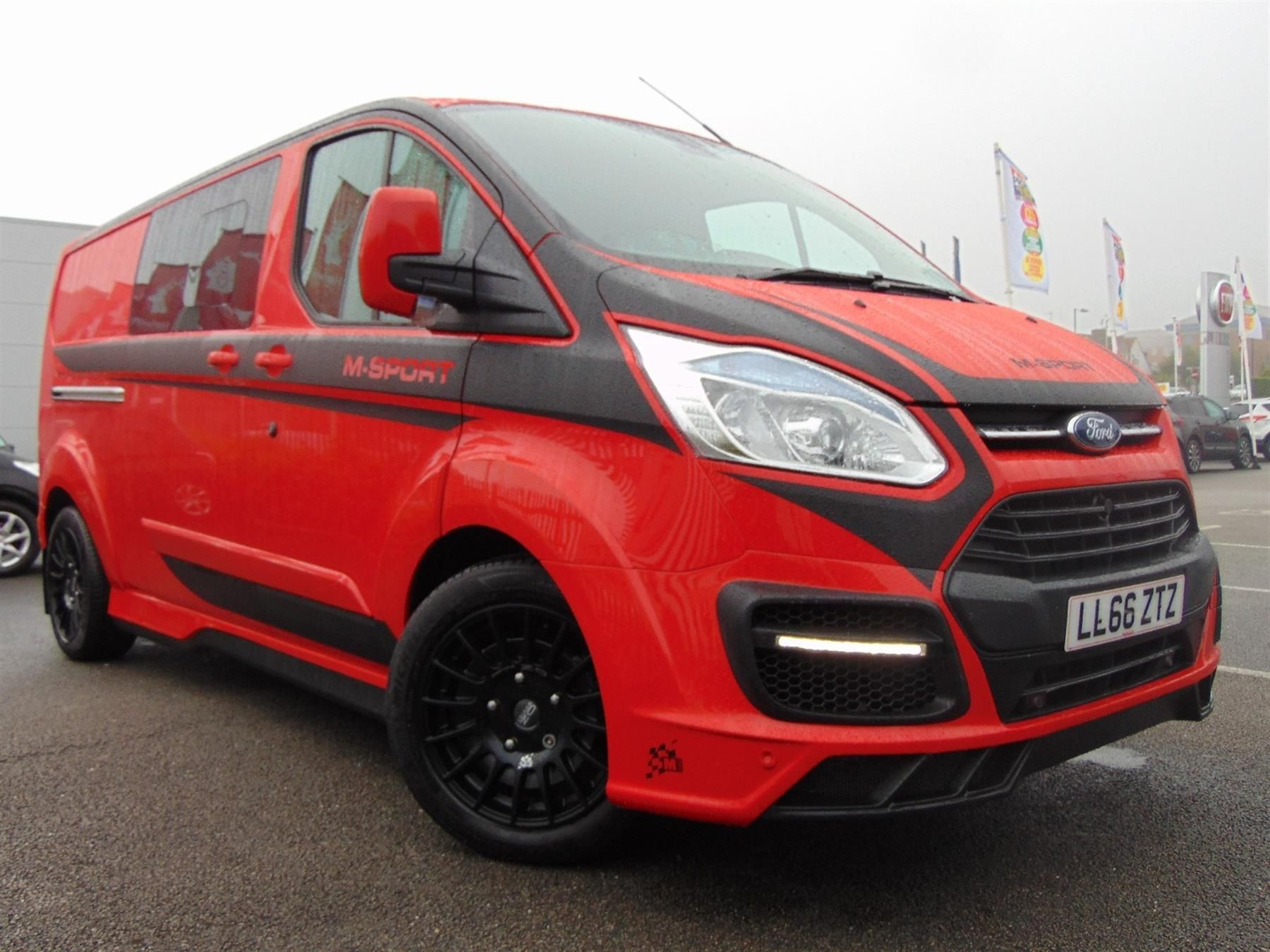 Used 2016 Ford Transit Custom 290 L2 M Sport Double Cab 2 2 Tdci 155ps In Race Red With 6 Seats And Black Alloys For Sale Ford Transit Transit Custom Ford Van