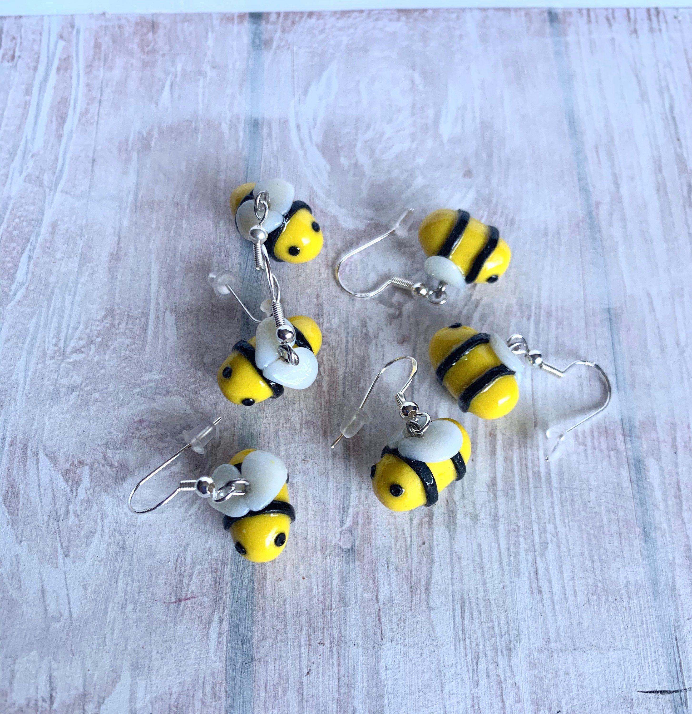 nature earrings tiny earrings Bee earrings yellow bee earrings long flower earrings flower earrings nature earrings