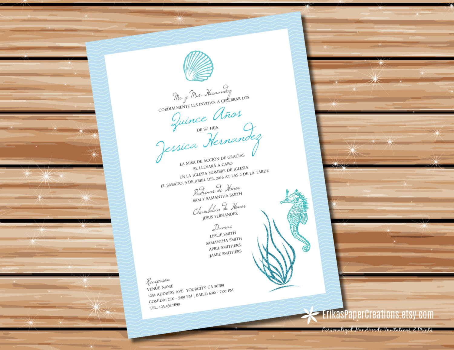 Personalized Quinceañera Under the Sea Printable Invitation Digital Download by ErikasPaperCreations on Etsy