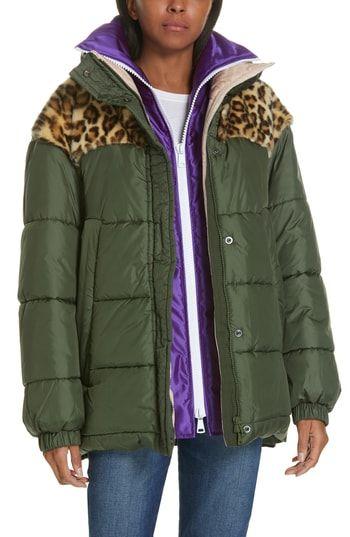 New N?21 Faux Fur Yoke Layered Mixed Media Coat ,Fashion ...