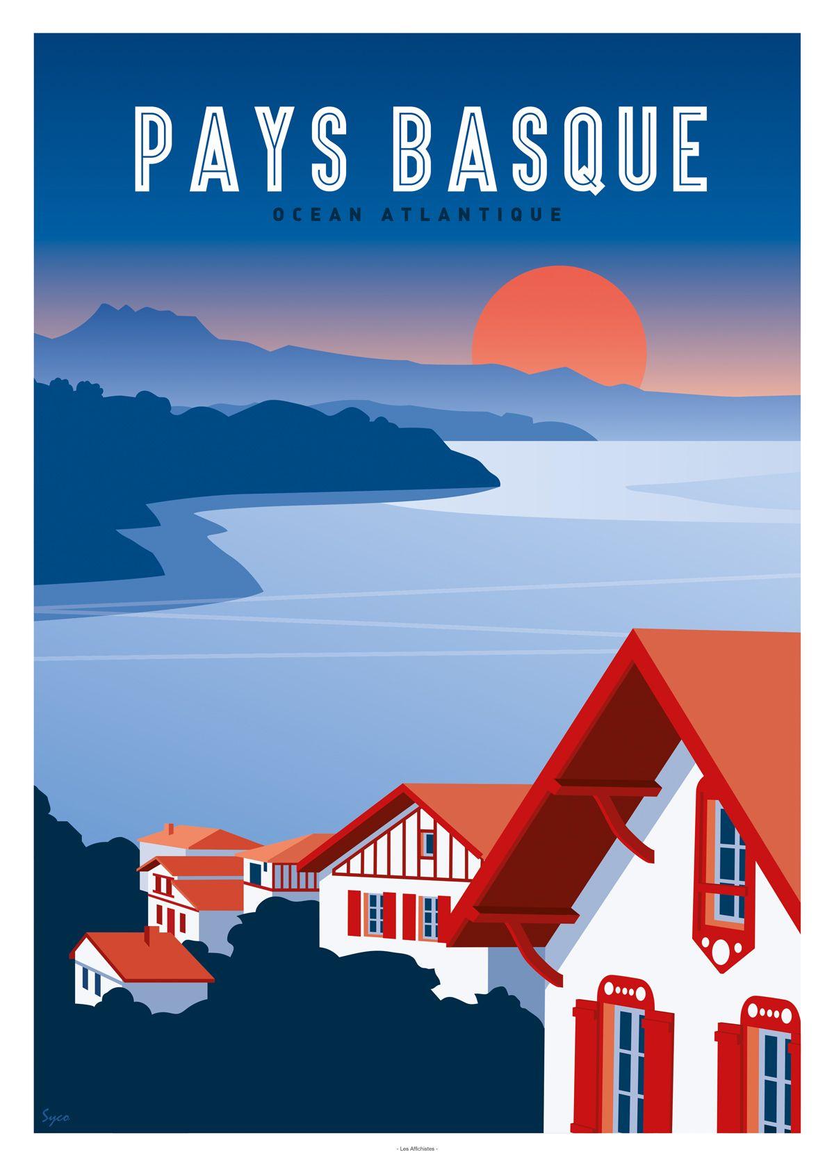 Affiche Pays Basque Ocean Atlantique En 2020 Pays Basque Affiches De Voyage Retro Basque