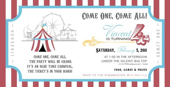 printable circus party invite - $15