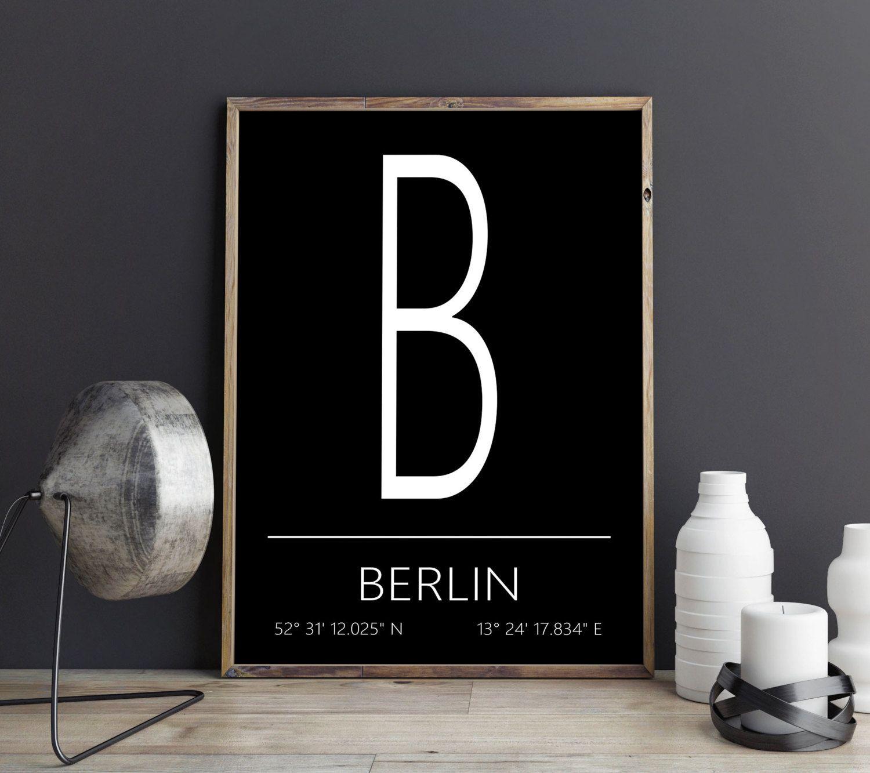 Berlin Kunstdruck, Berlin Poster, Berlin Artprint, Berlin Koordinaten, Berlin Digital Print, Druckbares Poster, Download von FineArtHunter auf Etsy