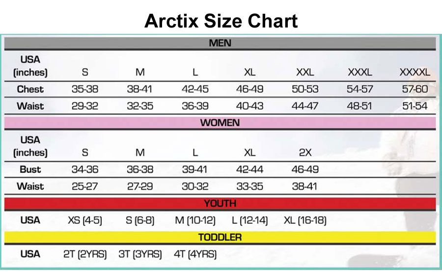 Arctix Men S Essential Snow Pants Size Chart Di 2020