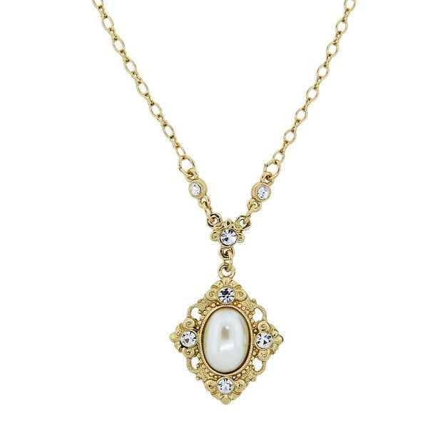 Downton Abbey® Boxed Gold-Tone Simulated Pearl and Crystal Pendant Necklace