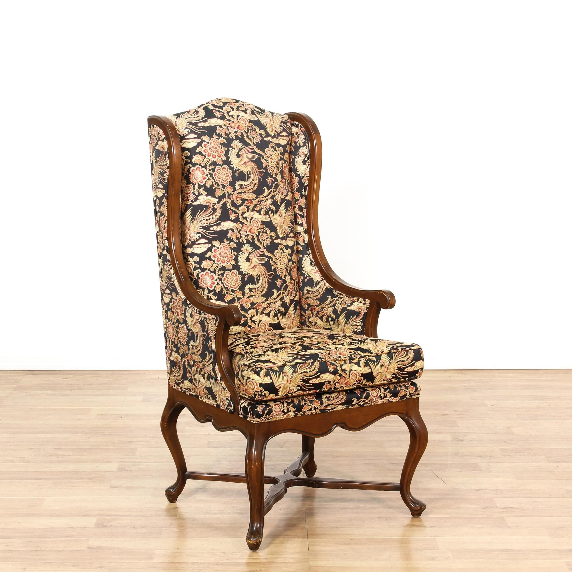 This Tall Wingback Armchair Is Upholstered In A Floral Phoenix Print With  Black, Gold And Red Accents. This Accent Chair Has A Tall Wing Back, Carved  Solid ...