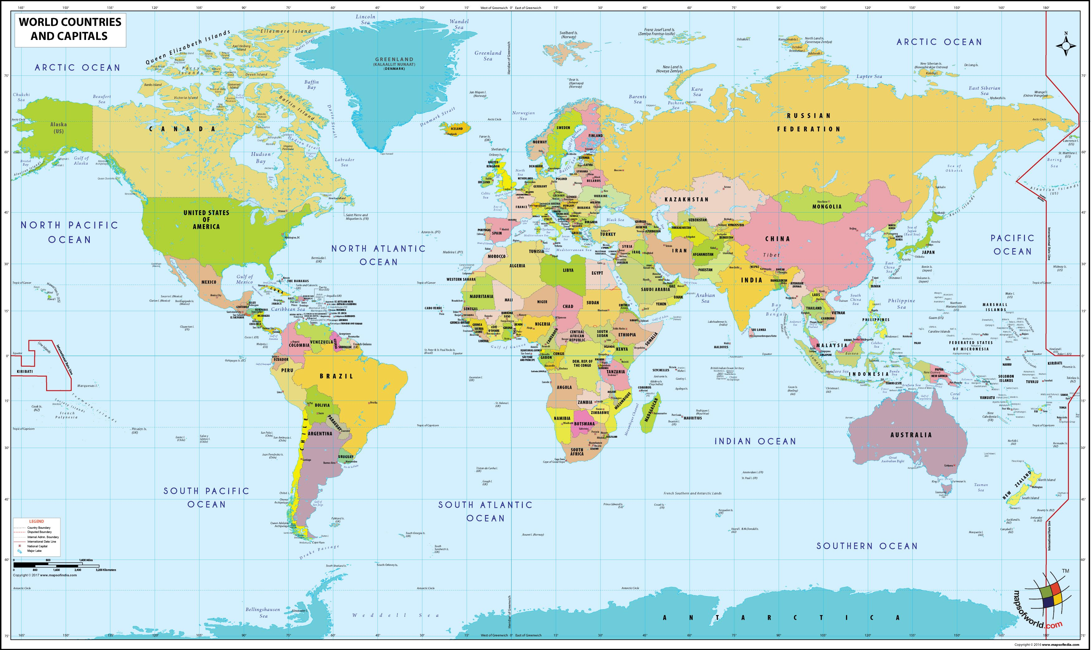 Map With Countries And Capitals Beijing On World