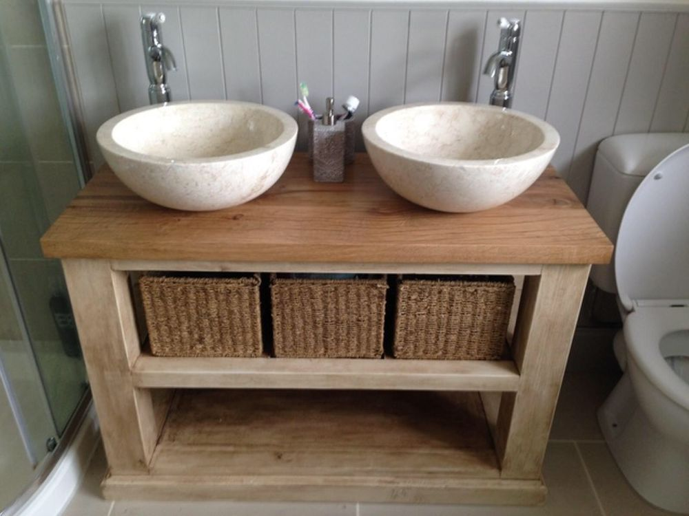 Handmade Solid Oak Bathroom Vanity Unit Washstand Rustic