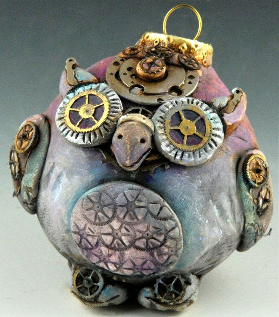 Steampunk Vintage Style Owl Ornament | Steampunk crafts ...