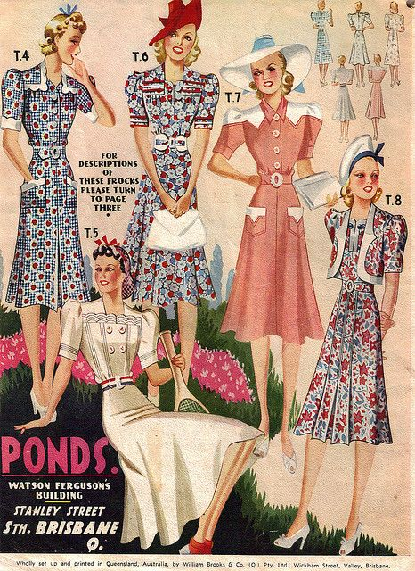 1940s Fashions In Red White Blue With Images: Pond's Summer Fashions From 1941 40s Dress Floral Color