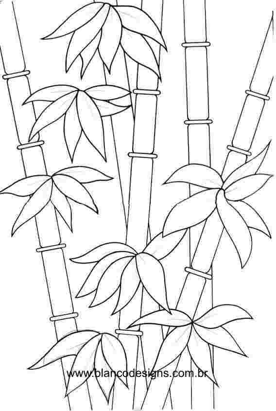 Bamboo Coloring Pages Flower Drawing Glass Painting Designs Mosaic Patterns