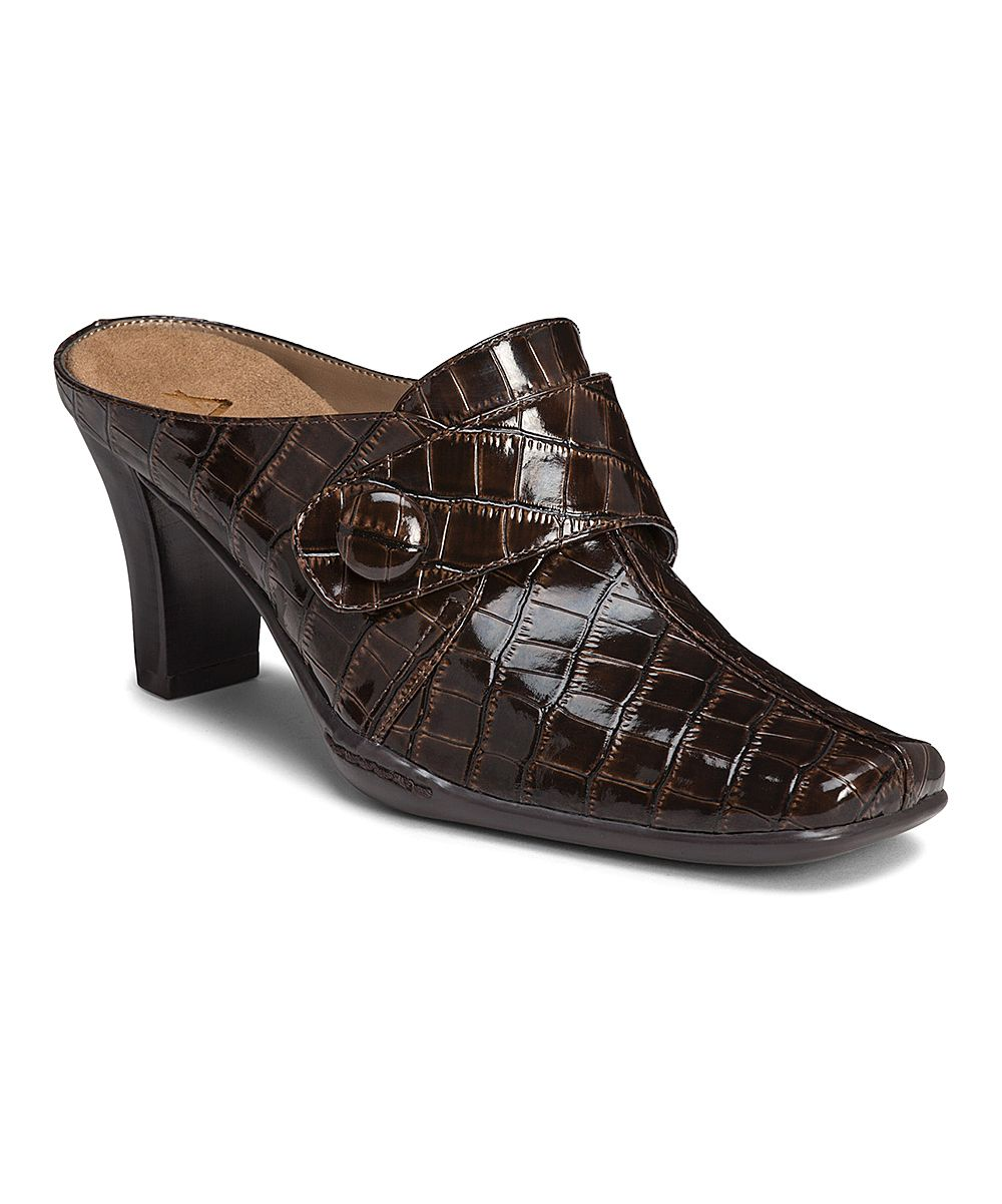 and mules on leather comforter clogs shoes comfort slip pin clarks brown
