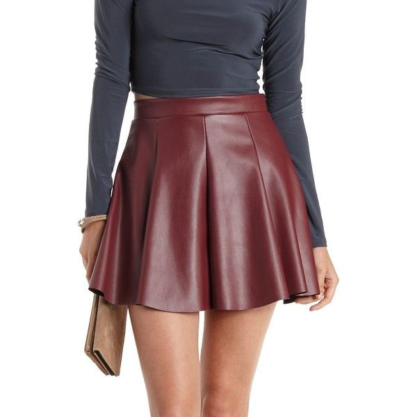 ad193d80a4 Charlotte Russe Oxblood Pleated Faux Leather Skater Skirt by Charlotte...  ($25)