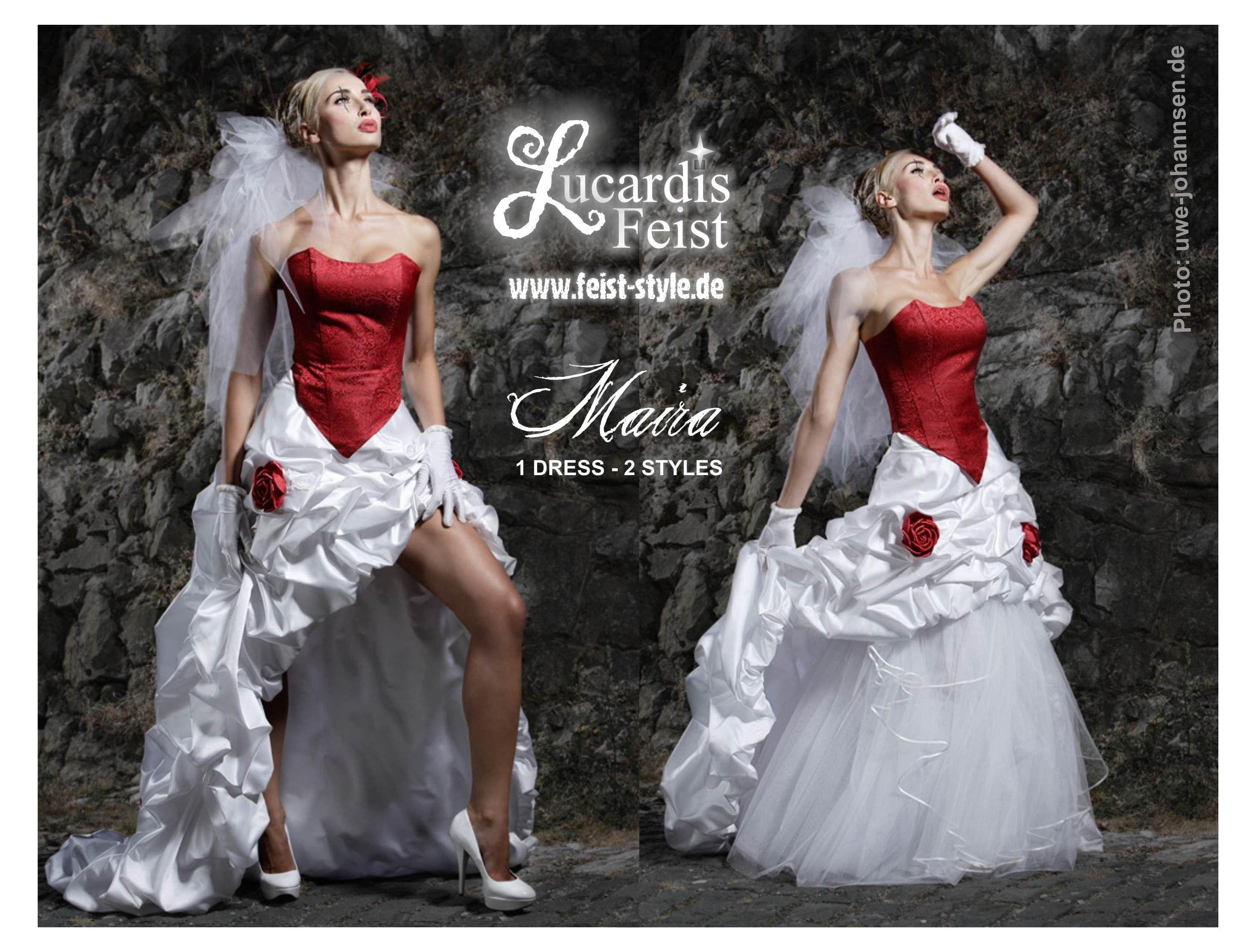 Lucardis Feist - Besondere Brautmode. Extravagantes Brautkleid in Rot/Weiss. Duo Dress (kurz und lang zu tragen). Denn Feist Style macht Spass :-)