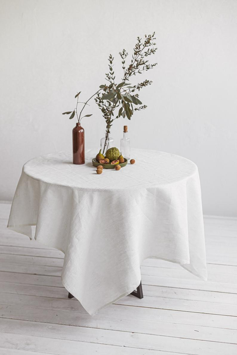 Off White Linen Tablecloth Round