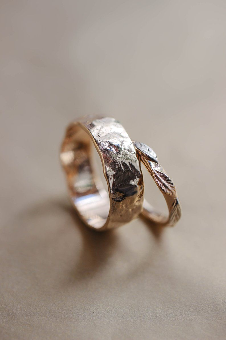 Rustic Wedding Bands Set Rough Wedding Ring Yellow Gold Rings