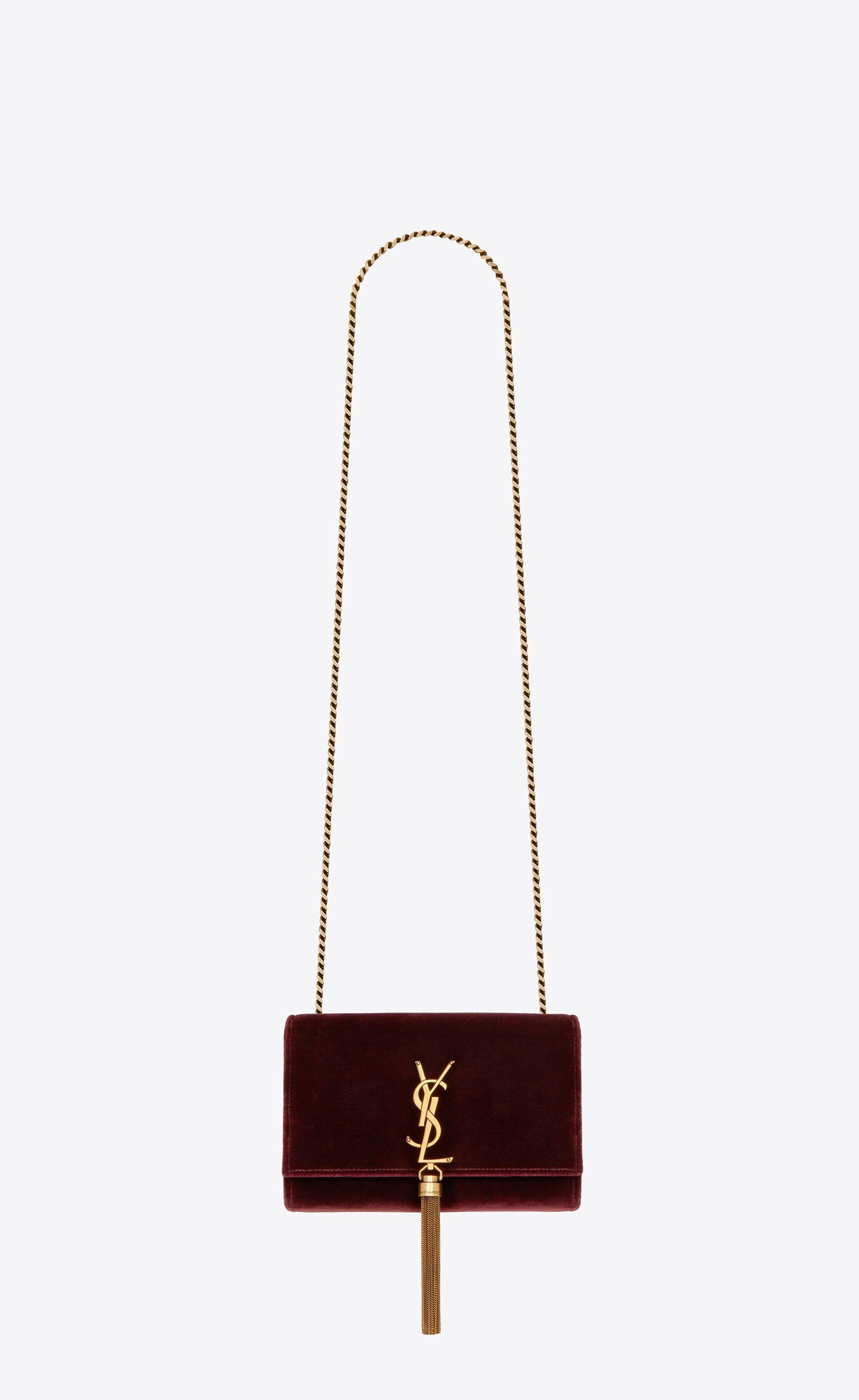 436fc99c9e56 Saint Laurent Small Kate Chain And Tassel Bag In Dark Red Velvet